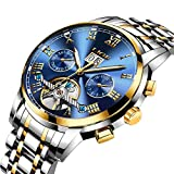 Affute Mens Automatic Mechanical Wrist Watches Stainless Steel Date Skeleton Tourbillon Watch,Blue Gold