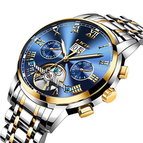 Silver Mechanical Dial (Affute Mens Automatic Mechanical Wrist Watches Stainless Steel Date Skeleton Tourbillon Watch,Blue Gold)