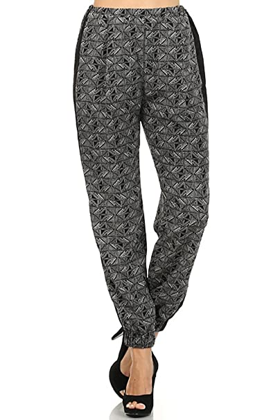 Women s High Waist Cuffed Jogger Pants - Geometric Print with Solid Trim -  Multi 7409b6126
