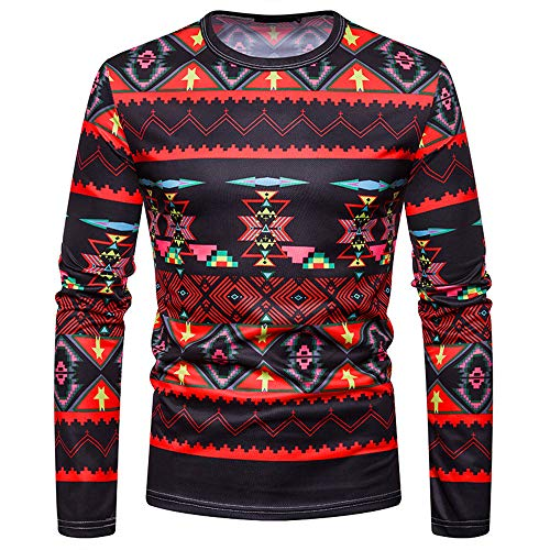- Toimothcn Mens Dashiki Tops Casual African Style Ethnic Printed Round Neck Long Sleeve Top Blouse (Black,2XL)