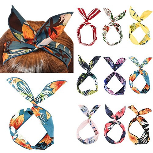 Yeshan Fashion Twist Bow Wire Leaf designs Vintage Headbands Headwrap Boho Floral Printed Rabbit ear Wire Hairbands Hair Holder Hair Accessory for Women and Girls,Pack of 9