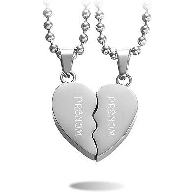 6618afc120f8 MeMeDIY 2 Pièce Ton d argent Acier Inoxydable Pendentif Collier Combiné Coeur  Cœur Couple Amour
