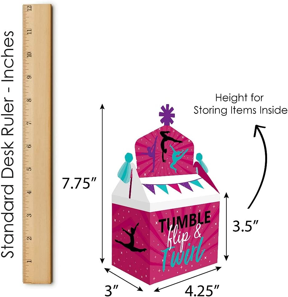 Gymnastics Birthday Party or Gymnast Party Goodie Gable Boxes Big Dot of Happiness Tumble Treat Box Party Favors Flip and Twirl Set of 12