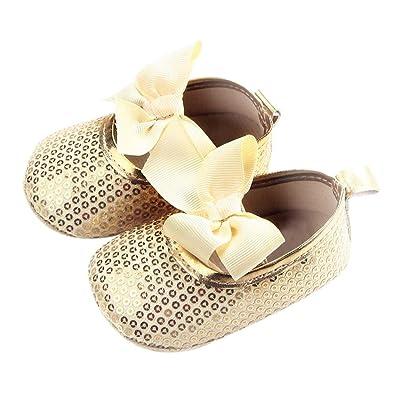 Everpert Girls Moccasins Bowknot Sequin Shoes First Walkers Prewalker Gold 11