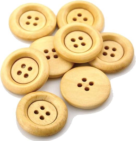 Sadingo - Botones de madera natural, 4 agujeros para coser, para ...