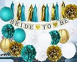 Furuix Bride Shower Decorations Bride To Be Banner White Teal Gold Tissue Pom Pom Paper Lanternd Tassel Garland Hen Party/Bachelorette Party Decorations Kit - Bridal Shower Supplies