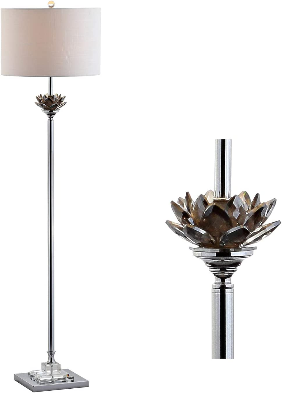 JONATHAN Y JYL2032A Amelia Lotus 59″ Crystal/Metal LED Floor Lamp Contemporary,Transitional,Traditional