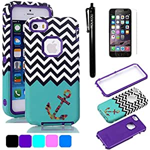 iPhone 5C Case MOUKOU(TM) Hybrid Shockproof Cover Hard Armor Shell and Silicone Skin Chevron Pattern with Anchor Design Case Cover for iphone5c(Purple)