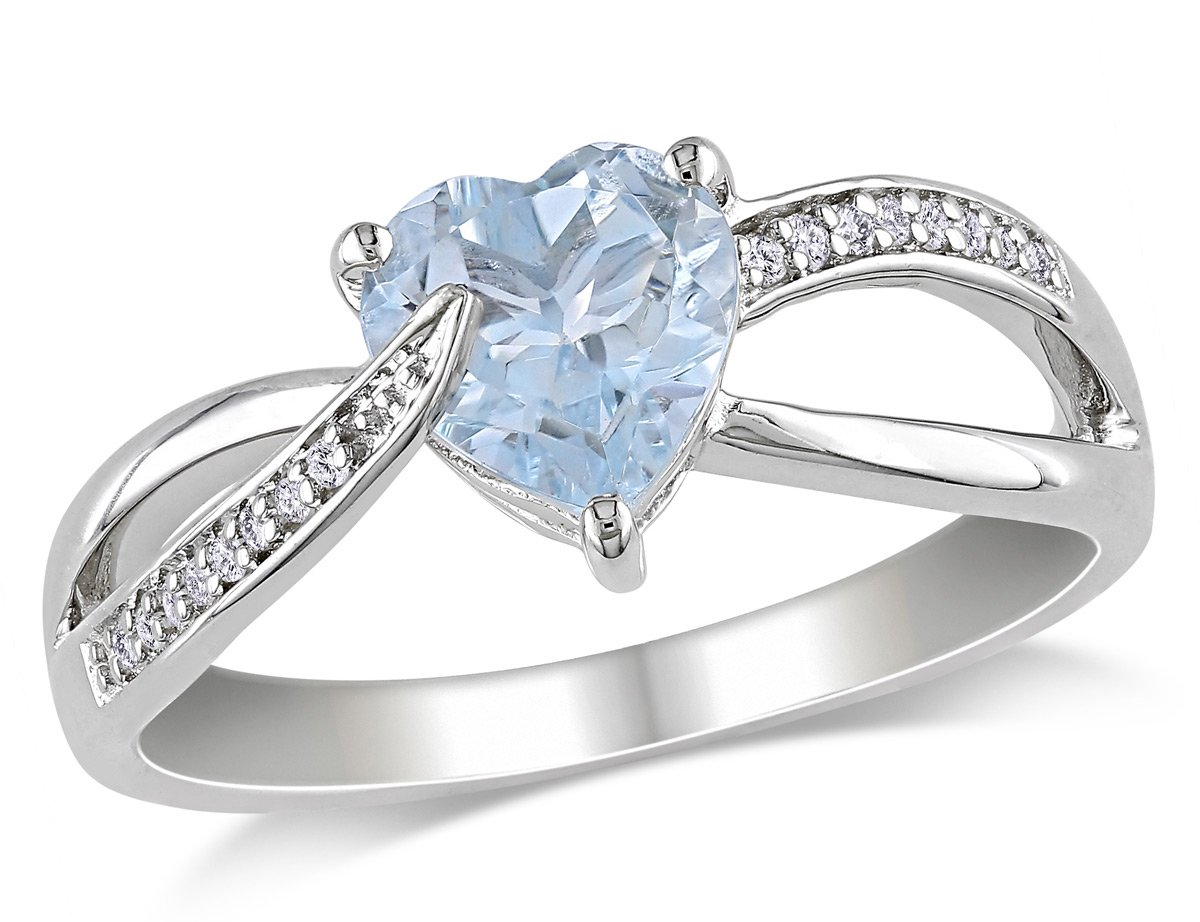Aquamarine Heart Ring 1.50 Carat (ctw) with Diamonds in Sterling Silver
