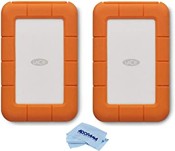 Amazon Com Lacie 2 Pack Rugged Thunderbolt Usb C 5tb External Hard Drive Portable Hdd For Mac And Pc Microfiber Cloth Computers Accessories