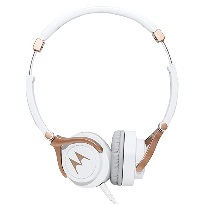 Motorola Pulse 3 Wired Headphones (White and Gold) On-Ear Headphones at amazon
