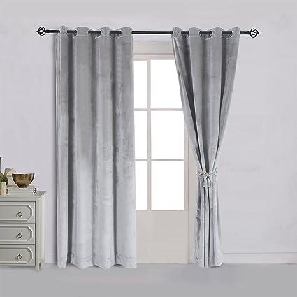Cherry Home Soft Velvet Classic Blackout Curtains Panels 52 W By 96 L