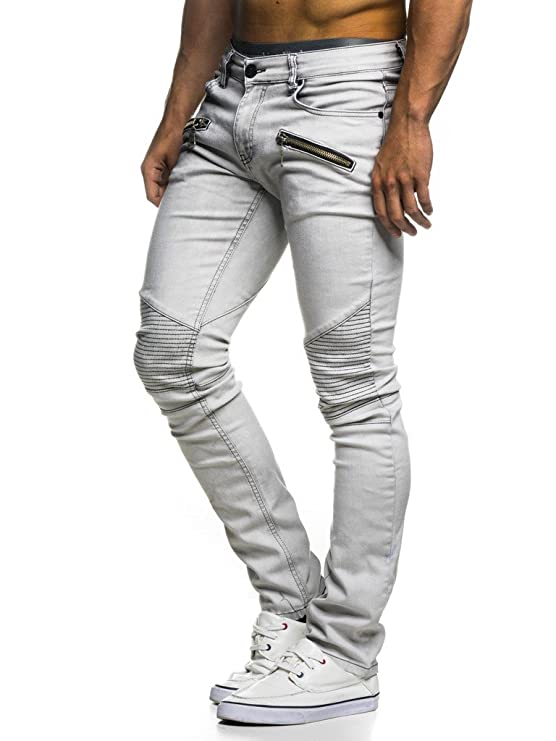 LEIF NELSON Herren Hose Biker Jeans Stretch Jeanshose Destroyed Freizeithose Denim Slim Fit Basic Skinny LN273D