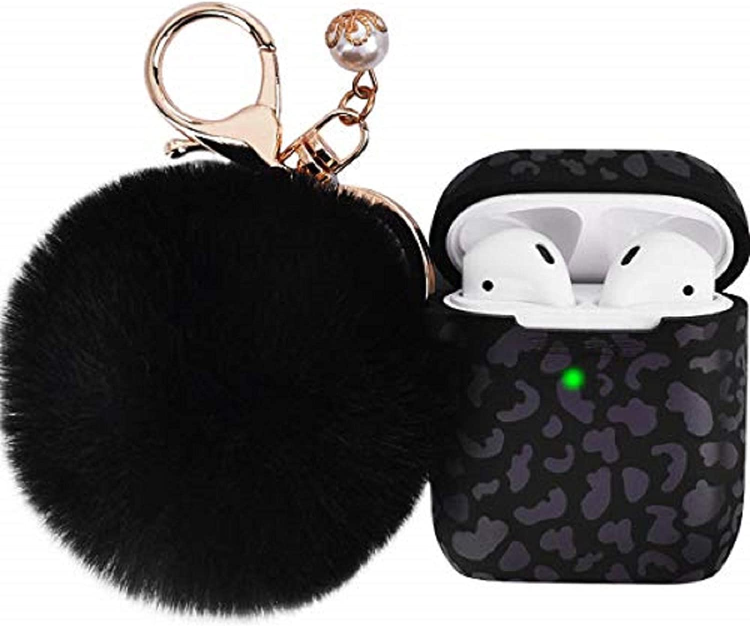 Leopard Airpods Case for Women, Filoto Airpod Case Cover for Apple AirPods 2&1 Charging Case, Cute Cheetah Print Silicone Soft Cases Accessories Keychain/Pompom/Strap for Girls (Leopard of The Night)