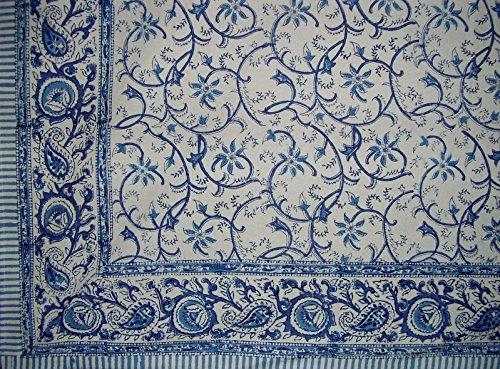 Homestead Block Print Rajasthan Vine Cotton Tablecloth 90