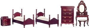 Dollhouse Miniature Twin Bedroom Set in Mahogany