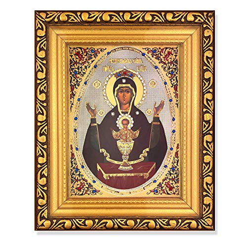 Religious The Inexhaustible Cup Virgin Mary Christ Russian Icon Gold Framed Icon With Glass & Crystals 6 1/4