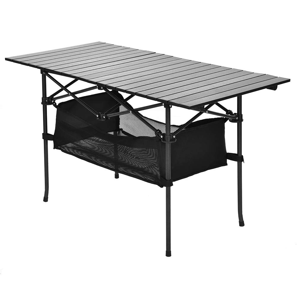 Folding Table, Aluminium Camping Table Roll-Up Table Top Portable Outdoor Desk with Net Bag for Picnic, Camp, Beach, BBQ, Hiking, Travel, Fishing 118.2 x 54.8 x 66.8cm