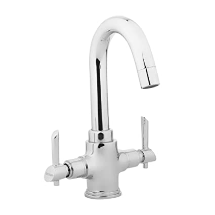 Hindware F110009CP Centre Hole Basin Mixer Without Popup Waste System (Immacula) with Chrome Finish