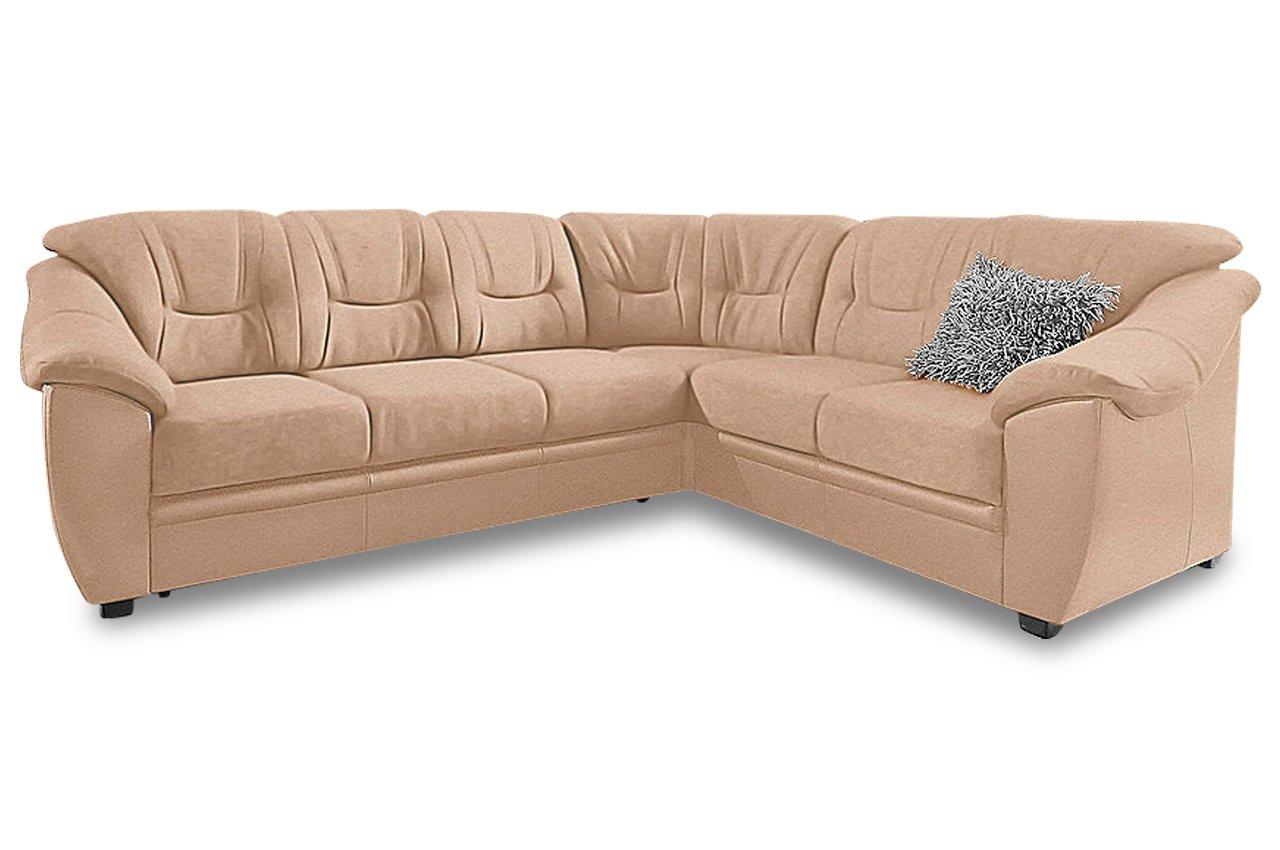 Sofa Rundecke Savona Creme Mit Federkern Microfaser Natur