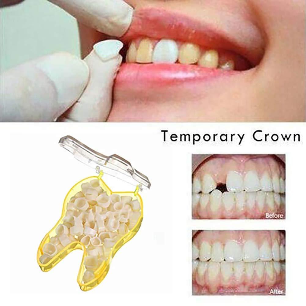 Dientes delanteros Carillas dentales temporales anteriors Bordes posteriores de resina sint/ética posterior,kit de dientes temporales de sonrisa instant/ánea Dientes Falsos para los Dientes