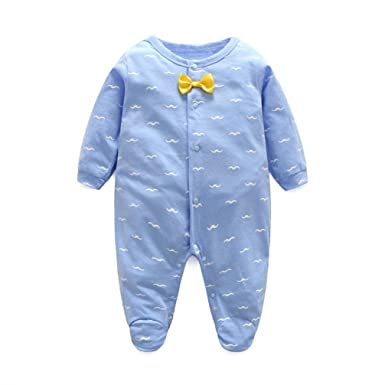 ac85c5fac5de Amazon.com  Winsummer Newborn Baby Boy Girl One-Piece Footie Rompers ...