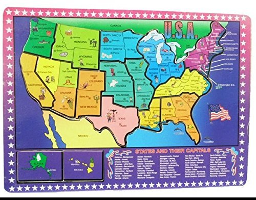 Dazzling Toys Educational Wooden United States Map Puzzle (United Puzzle States Map)