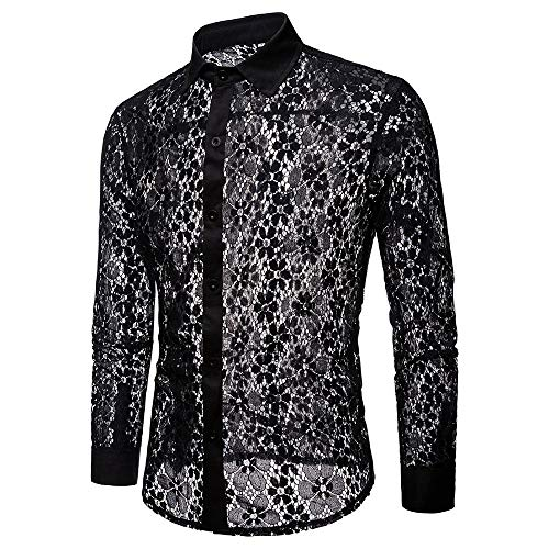(Shirts for Men Men's Autumn Casual Lace Shirts Long Sleeve Shirt Hollow Shirt Top Blouse Flared Trousers dudepaisley Corduroy Retro Black )