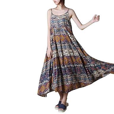 5147ab3ad44 Fathoit Robe Longue Femme sans Manches ÉTé Boho Rayé Deep Rond Neck Robe De Plage  Femmes