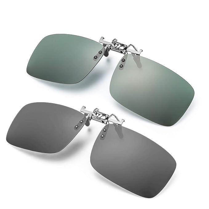 ELIVWR 2 Pares Gafa de Sol Polarizada con Clip de - Gafas Conducción/Golf/y Mucho Más Deportes Exteriores,100% de Protección Contra Los Rayos UVA/UVB ...