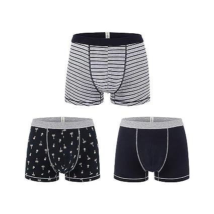 bbcb63b79921 Ropa Interior para Hombres Pantalones Cortos de algodón Cuatro Esquinas  Calzoncillos Transpirables Paquete de 3 Calzoncillos