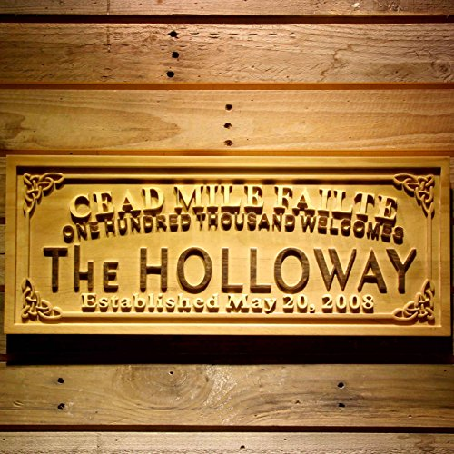 AdvPro Wood Custom wpa0341 Cead Mile Failte Family Name Personalized Established Date One Hundred Thousand Welcomes 3D Wood Engraved Wooden Sign - Standard 23