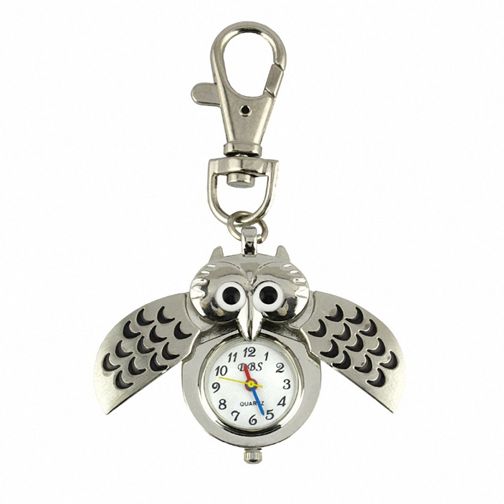 YouyouPifa wholesale 5 Pack Cute Owl Fashion Stainless Steel Quartz Keychain Watch