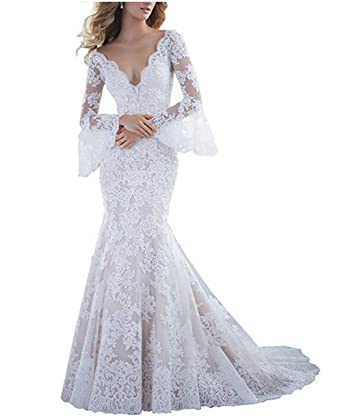 488625fab2 Tsbridal Women s Sexy Full Lace V Neck Mermaid Wedding Dress with Long  Sleeves Backless Bridal Gowns at Amazon Women s Clothing store
