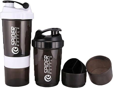 Coctelera botella de agua shaker para mezclar proteina y ...