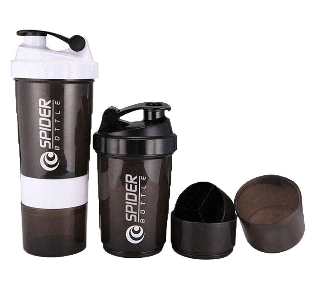 Coctelera botella de agua shaker para mezclar proteina y suplementos deportivos. (Spider) - Talla Única: Amazon.es: Hogar
