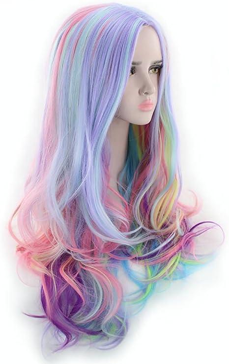 Limin Peluca gradiente arcoiris helado de alta temperatura de ...
