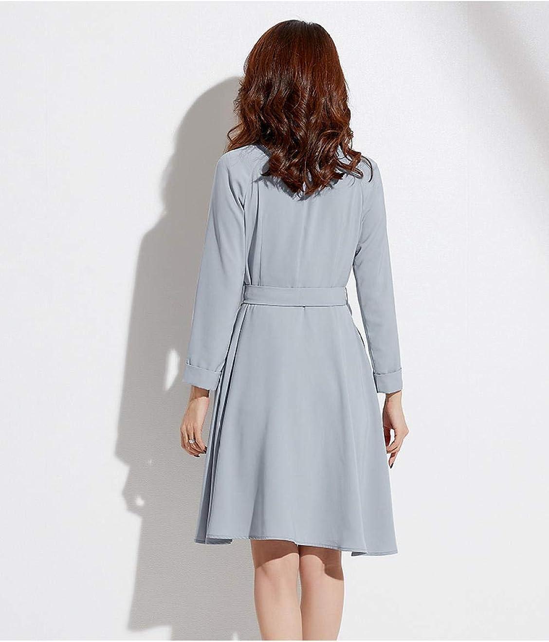 QPXZ Vestito Lungo Abito Irregolare con Maniche Lunghe Blue Gray