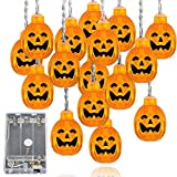 Jimcoser LED Pumpkin String Lights Battery Operated Rope Lights for Home Patio Outdoor Halloween and Christmas Decoration (16.4ft (40))