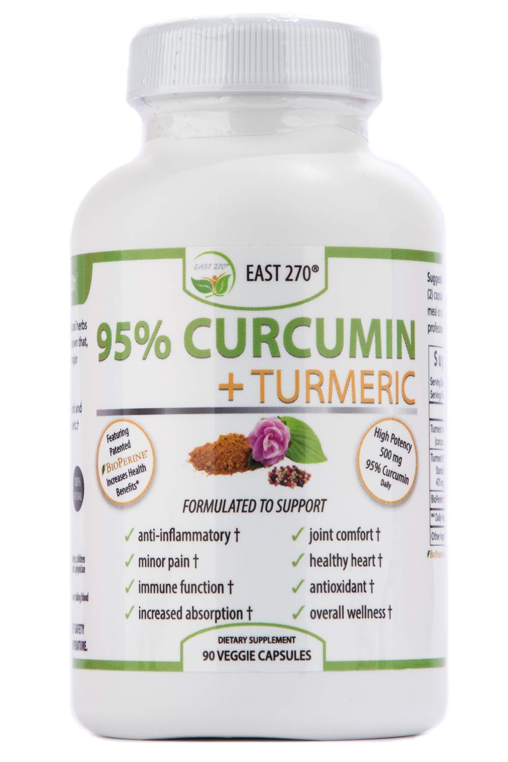 Curcumin Plus 1500mg – with Piperine BioPerine, Black Pepper Advance Absorption – Made in USA – 90 Veggie Capsules, Radiant Skin, Arthritic Pain Relief, Joint Comfort, Inflammation Relief, Wellness