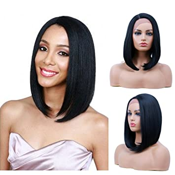 Short Bob Lace Front Wigs Straight Synthetic