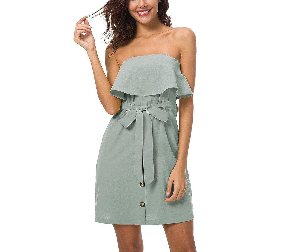 Vestido de Mujer, Lananas 2018 Mujer Verano Fuera del Hombro Volantes Cinturón Botón Decoración Fiesta Cóctel Verde Mini Corto Vestir Dress: Amazon.es: ...