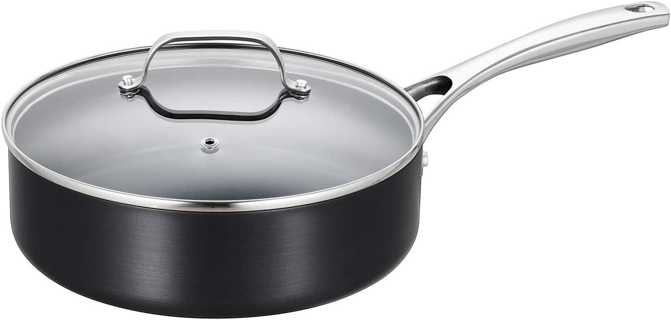 EPPMO 3.2 Qt Hard-Anodized Aluminum Saute Pan with lid, Nonstick Deep Fry Pan 10 Inch, Stainless Steel Handle, Dishwasher & Oven Safe