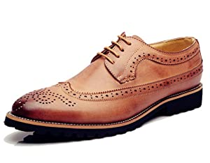 DADAWEN Men's Classic Modern Oxford Wingtip Lace Dress Shoes Brown US Size 7