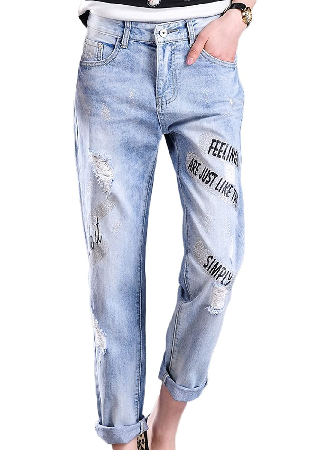 Chickle Women's Loose 100 Cotton Sayings Ripped Distressed Jeans
