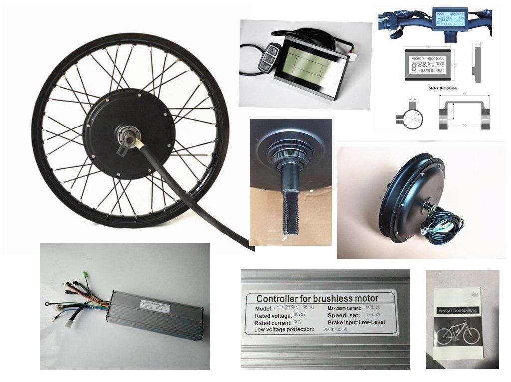 72V 60Ah 3000W Brushless DC Sine Wave E-bike Controller, 72V Intelligent LCD Control Panel Display, 72V 3000W Brushless Gearless Motor, For 3000W Electric Bike Kit.