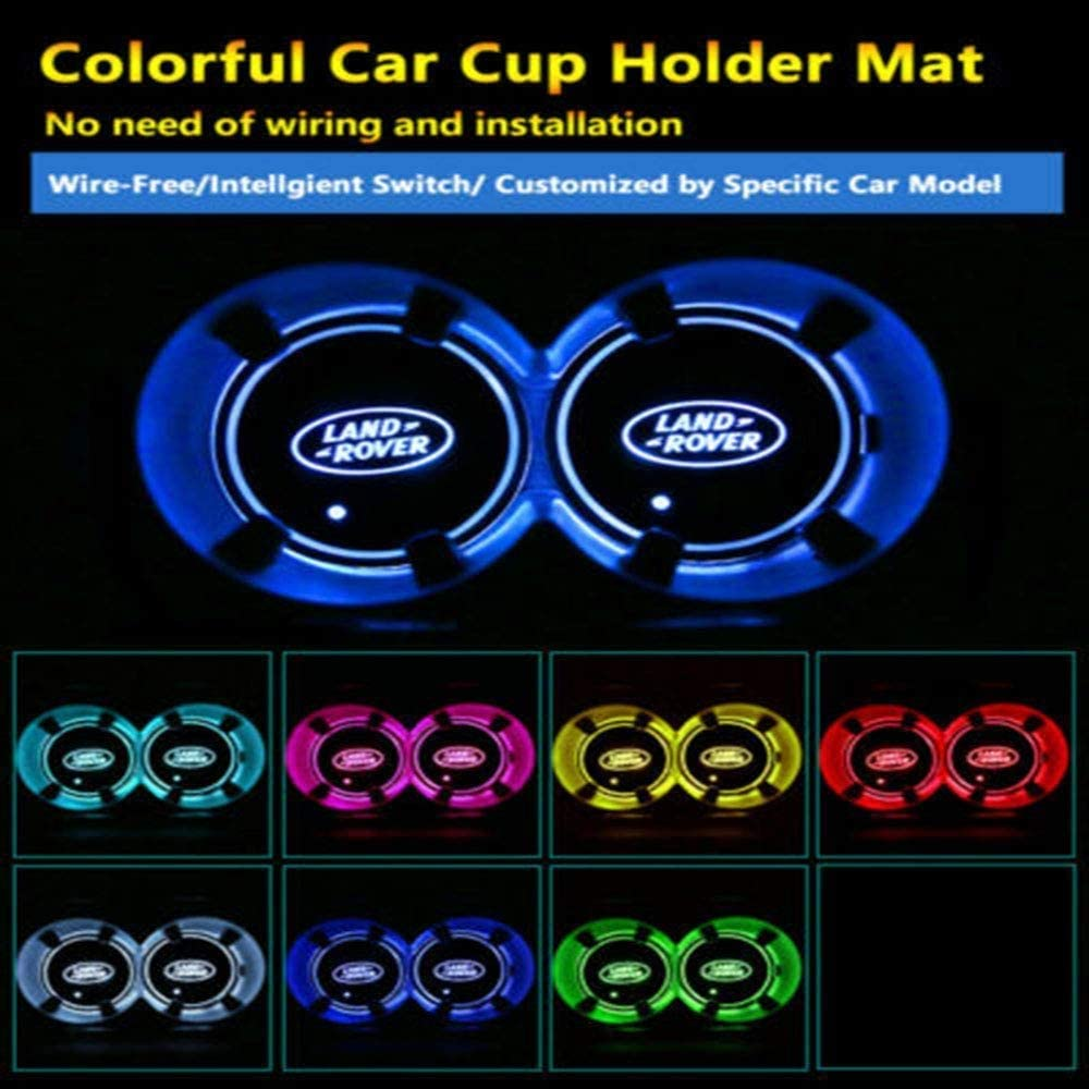 B-EN-Z ZAMOO 2PCS 7 Colors LED Car Cup Holder Mat Pad Automobiles Coaster Interior Atmosphere Lights Decoration Accessories