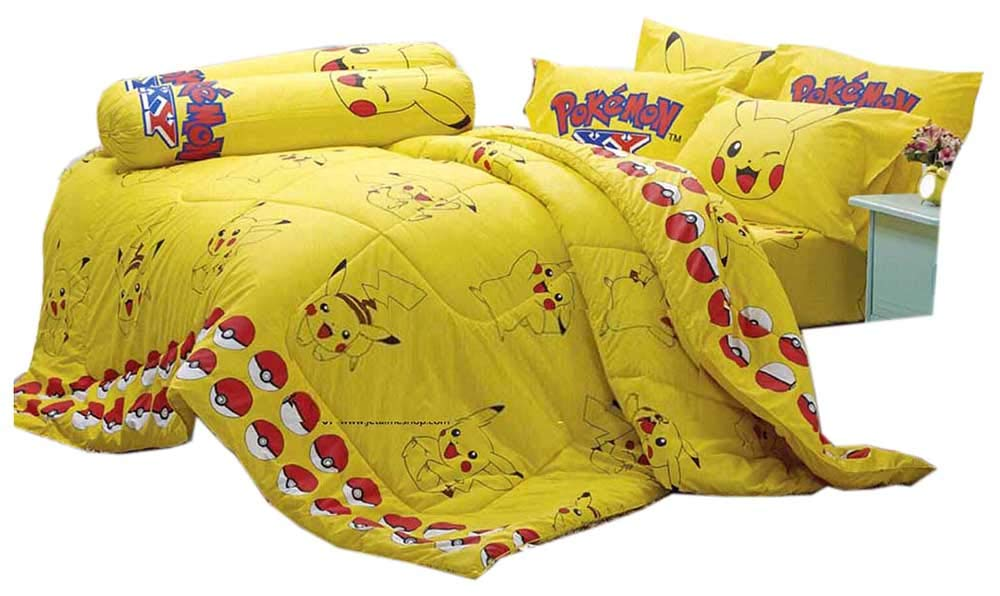 """Pokemon Official Licensed Yellow Bedding Set, Bed Sheet, Pillow Case, Bolster Case (Not Included Comforter) SL502 Set B Size 60""""x78"""" (QUEEN)"""