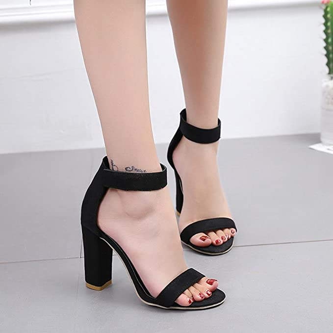 3cd4ba1e555 Amazon.com  BeautyVan—— Women Flat Sandals Women Fish Mouth Sandals Ankle  High Heels Block Party Open Toe High-Heeled Sandal Shoes  Clothing