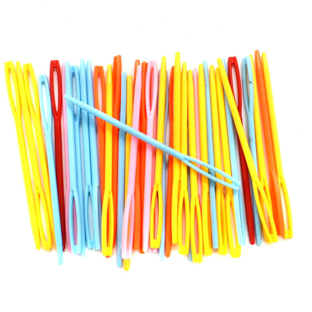 BESTCYC 7cm (2.75) 100pcs Mixed Color Plastic Hand Sewing Yarn Darning Tapestry Needles Plastic Lacing Needles for DIY Notions Craft Stitchery